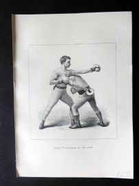 Badminton Library 1889 Boxing Print. Ducking to the Right